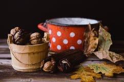 Orzechy włoscy na wieśniaka stole z starymi szczegółami na nim Fotografia Stock