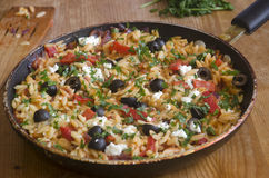 Orzo with peppers and cheese Stock Image