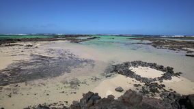 Orzola beach in Lanzarote, Canary islands stock video