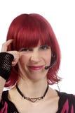 osäker kvinna för hörlurar med mikrofon Royaltyfri Foto
