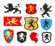 Osłona z lwem, heraldyka wektoru logo Żakiet ręk ikony Obraz Royalty Free