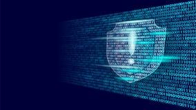 Osłona zbawczego systemu binarnego kodu strażowy przepływ Dużego dane ochrony hackera ataka antivirus biznesu komputerowy pojęcie ilustracji