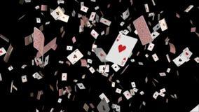 Os ás de queda dos cartões do pôquer dão laços ilustração stock
