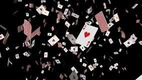 Os ás de queda dos cartões do pôquer dão laços no DOF ilustração royalty free