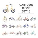 Os ícones ajustados da coleção da bicicleta diferente no estilo dos desenhos animados vector a ilustração conservada em estoque d Imagens de Stock Royalty Free