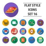 Os ícones ajustados da coleção do bar no estilo liso vector o símbolo Foto de Stock Royalty Free