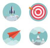 Os ícones ajustados do projeto liso começam acima developmen do negócio Imagens de Stock Royalty Free