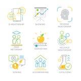 Os ícones ajustados do vetor relacionaram-se aos tipos e às técnicas do mentorship Imagem de Stock