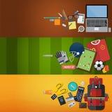Os ícones ajustados trabalham, ostentam e viajam no projeto liso Vetor Imagens de Stock