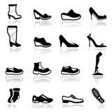 Os ícones ajustaram calçados Fotografia de Stock