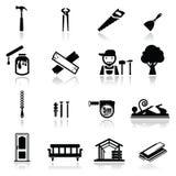 Os ícones ajustaram a carpintaria Fotografia de Stock Royalty Free