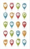 Os ícones ajustaram cores e emoções dos differents dos smilies da profissão ilustração do vetor
