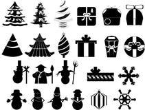 Os ícones ajustaram feriados do Natal do ano novo Fotos de Stock Royalty Free