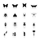 Os ícones ajustaram insetos Fotografia de Stock Royalty Free