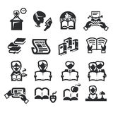 Os ícones ajustaram a literatura ilustração stock