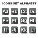 Os ícones ajustaram o alfabeto Foto de Stock Royalty Free