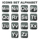 Os ícones ajustaram o alfabeto Foto de Stock
