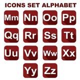 Os ícones ajustaram o alfabeto Fotos de Stock