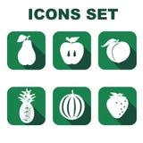 Os ícones ajustaram o alimento Foto de Stock