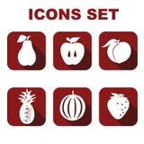 Os ícones ajustaram o alimento Imagem de Stock