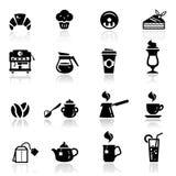 Os ícones ajustaram o café Fotografia de Stock