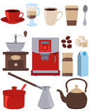 Os ícones ajustaram o café ilustração do vetor