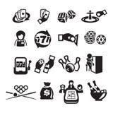 Os ícones ajustaram o casino Imagens de Stock Royalty Free