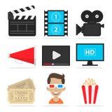 Os ícones ajustaram o cinema Imagens de Stock