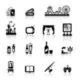 Os ícones ajustaram o divertimento e o entretenimento Imagem de Stock Royalty Free