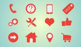 Os ícones ajustaram o Internet do fow Fotografia de Stock