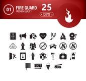Os ícones ajustaram o sapador-bombeiro ilustração stock