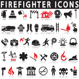 Os ícones ajustaram o sapador-bombeiro ilustração royalty free