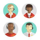 Os ícones ajustaram os avatars masculinos e fêmeas do centro de atendimento em um estilo liso com uns auriculares, conceptuais de Imagens de Stock