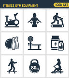 Os ícones ajustaram a qualidade superior do equipamento do gym da aptidão, ostentam a atividade da recreação Projeto liso da cole ilustração do vetor