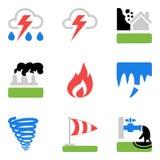 Os ícones ajustaram-se com riscos e perigos das catástrofes naturais ilustração do vetor