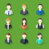Os ícones ajustaram-se das caras masculinas e fêmeas no tema do negócio, ilustração do vetor Imagens de Stock