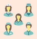 Os ícones ajustaram-se de enfermeiras médicas no estilo liso moderno do projeto Fotografia de Stock Royalty Free