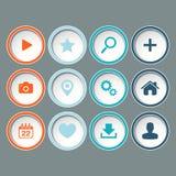 Os ícones ajustaram-se para o design web, Web site no fundo cinzento Fotos de Stock Royalty Free