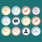 Os ícones ajustaram-se para o design web, Web site no fundo verde Imagens de Stock