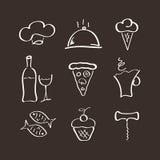 Os ícones ajustaram-se para o restaurante Fotografia de Stock