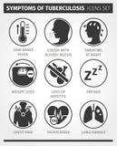 Os ícones ajustaram sintomas da tuberculose TB Vetor infographic Fotografia de Stock Royalty Free