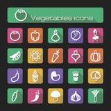 Os ícones ajustaram vegetais Imagens de Stock
