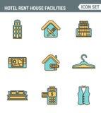 Os ícones alinham qualidade superior ajustada de cortesias do serviço de hotel, facilidades da casa de aluguel Estilo liso do pro Imagem de Stock
