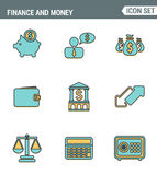 Os ícones alinham qualidade superior ajustada de objetos da finança e de elementos da operação bancária, símbolo financeiro do di Fotos de Stock Royalty Free