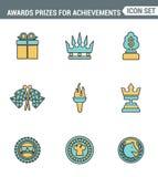 Os ícones alinham qualidade superior ajustada de prêmios das concessões para a recompensa da honra do elemento das realizações Pr ilustração do vetor