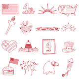 Os ícones americanos do esboço da celebração do Dia da Independência ajustaram eps10 Imagens de Stock