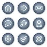 Os ícones básicos do Web, círculo mineral abotoam a série Fotografia de Stock Royalty Free