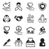 Os ícones básicos doe e do caridade ajustados Ilustração do Vetor