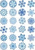 Os ícones bonitos dos flocos de neve ajustaram-se Ilustração do Vetor