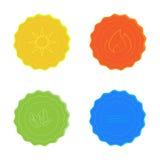 Os ícones brilhantes do vetor molham, expõem-se ao sol, ateiam-se fogo, as folhas, o amarelo, o azul, o vermelho e o verde Fotos de Stock